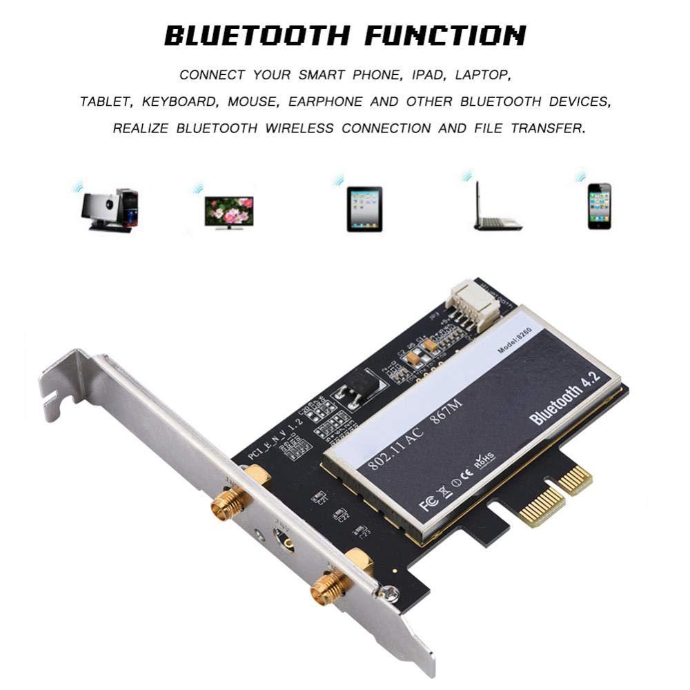 Vbestlife Desktop PC PCI-E Tarjeta de Red Inalámbrica Dual ...