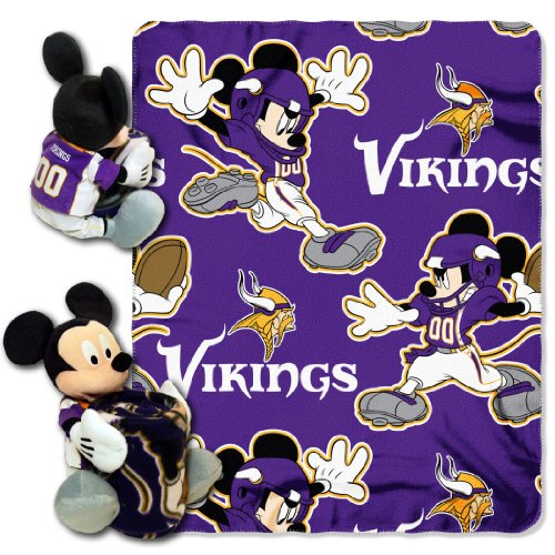 The Northwest Company Officially Licensed NFL Minnesota Vikings Co Disney's Mickey Hugger and Fleece Throw Blanket Set -
