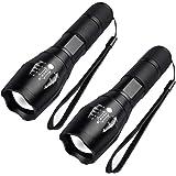 Maxesla Tactical Flashlights High Lumens [2 Pack] - LED Flashlight,2000 Lumen Bright Flashlight,Zoomable, 5 Modes, Water Resi
