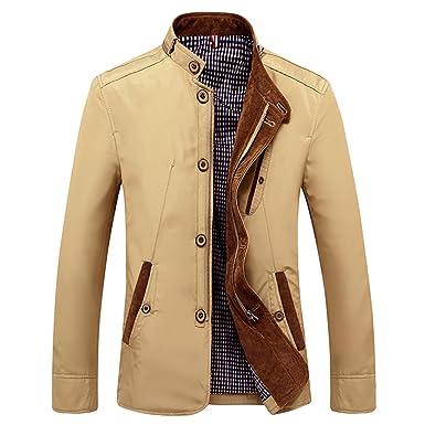 2d98b568aed4 Bee Late Men s Cotton Lightweight Windbreaker Hoodie Jacket Trench Coat