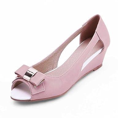 Big size 34-43 Classi Design Cut Outs Little Bow tie Med Heel Wedges Summer Shoes Women Peep Toe Less Platform casual Sandals
