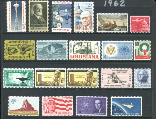 Complete Mint Set Of Postage Stamps Issued In The Year 1962 By The U S  Post Office Dept