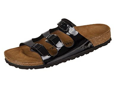 089b45fabf01b Birkenstock Women's Florida Soft Footbed Birko-Flor Black Varnish Sandals -  38 (étroit)