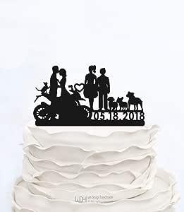 Decoración para tarta de boda con silueta de novia y novio en motocicleta para parejas en moto para decoración de ...