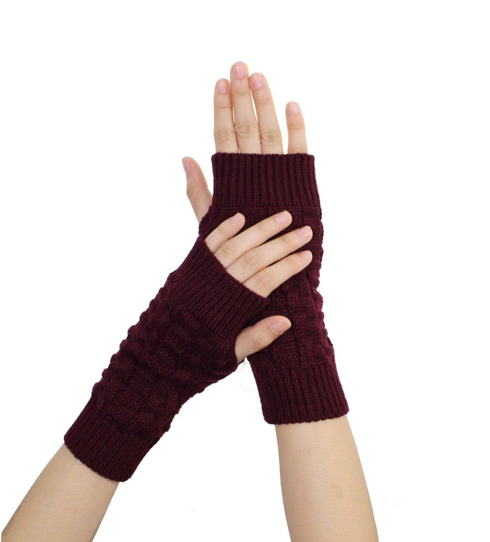 ケーブルニット指なし手袋親指穴短い冬Mitten Arm Warmer for Women B0777PBFR9  ワインレッド