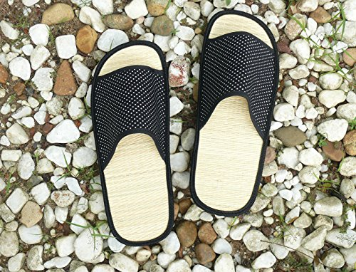 e26df86d955654 USA STEP Ladies Women Girls Adults Teens Handmade Fashion Indoor Outdoor  Home Spa Hotel Straw Seagrass Summer Slippers Flip Flops Sandals - Black