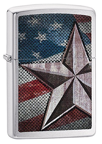 Zippo American Flag Star Pocket Lighter, Brushed Chrome