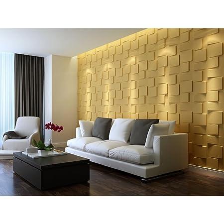 Set Of 10 3D Wall Panels, Luxurious Geometric Square Blocks Theme ...