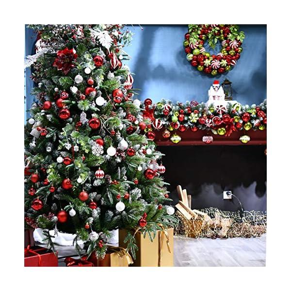 YILEEY Decorazioni Albero di Natale Palline di Plastica Oro e Rosso 68 Pezzi in 14 Tipi, Scatola di Palline di Natale Infrangibili con Gancio, Ornamenti Decorativi Ciondoli Regali 7 spesavip