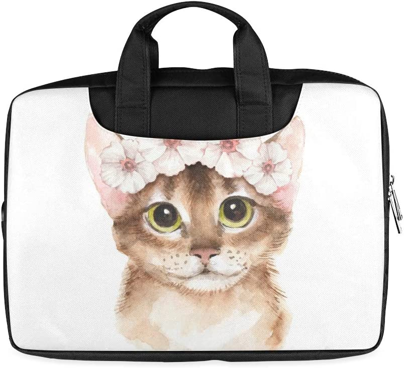 13 Inch A Cat with Bright Eyes Laptop Briefcases with Handle Lightweight Business Laptop Bag Fits MacBook Air Pro