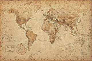 product image for Frame USA World Map Antique Poster (Unframed)(36x24)