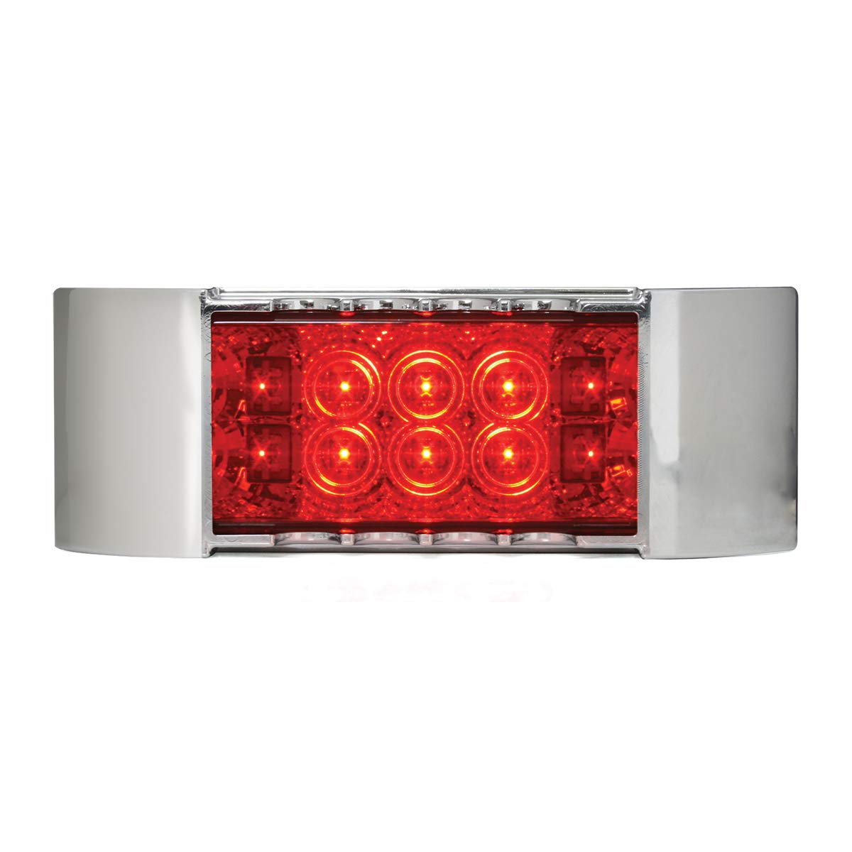 GG Grand General 76216 LED Light (Rectangle Wide Angle Spyder Red with Clear Bezel)