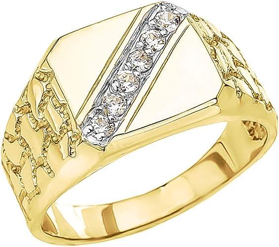 "Round Cut Diamond Accent /""DAD/"" Horseshoe Nugget Men/'s Ring 10K Yellow Gold"