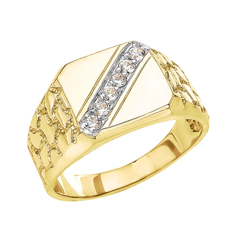 Men's Fine 14k Yellow Gold Signet Diamond Nugget Ring (Size 12)