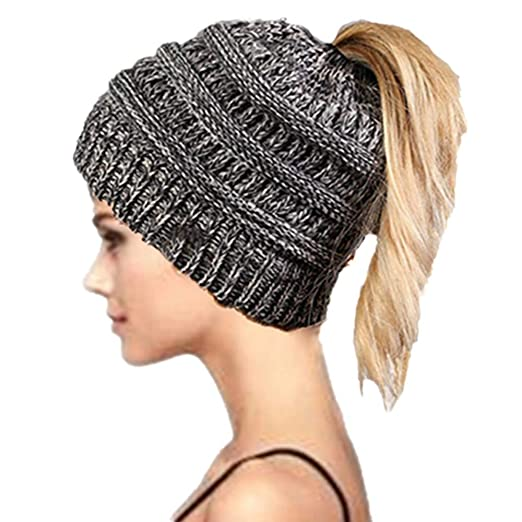a54f908b4 Haole Zaily Womens Ponytail Beanie Soft Warm Stretch Cable Knit Winter  Messy High Bun Hat