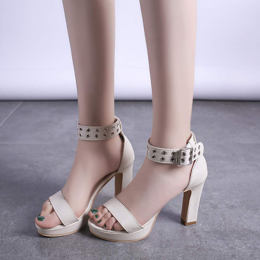 Womens Summer Open Toe Ankle Strap Chunky Block High Heel Dress Party Pump Sandals Beige by CCOOfhhc (Image #6)