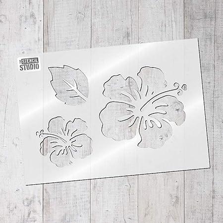 The Stencil Studio Hibiscus Flower Stencil Set Resuable Stencil