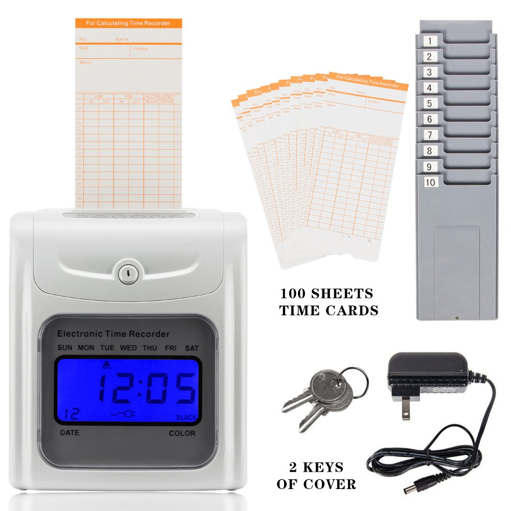 SELF Gray Punch Card Machine With Keys Ribbon 100Cards And Two 10Slot Card Racks for Employees Of Small Business Company Hospital School Factory