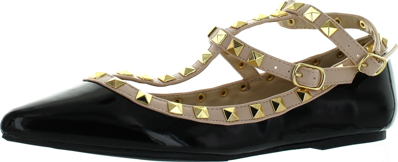 Wild Diva Women's Fashion Pippa-35 Studs Pointy T Bar Flats Shoes Black 7