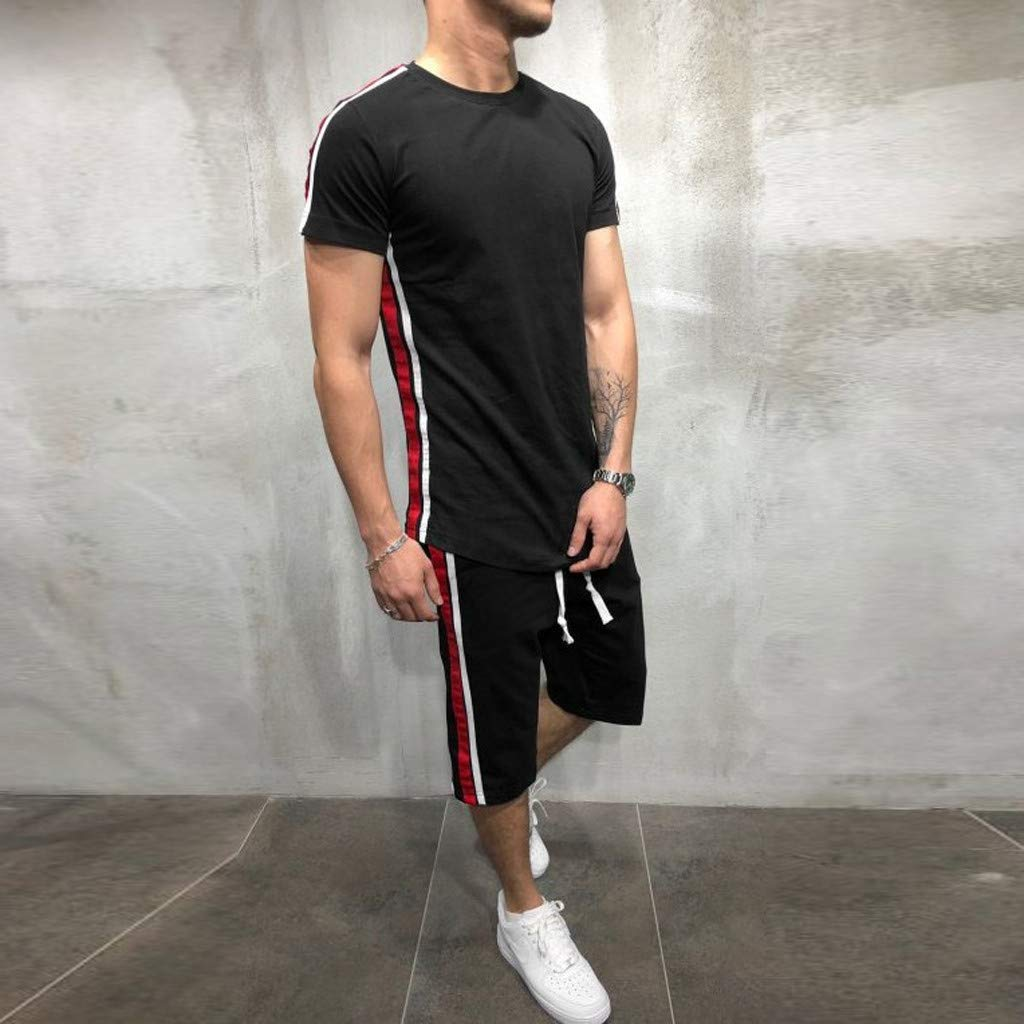Men's 2 Piece Outfit Sport Set Two-Piece Summer Casual Short Sleeve Tops + Shorts Tracksuit Sports Wear (XL, Black) by baskuwish Men Tracksuit (Image #3)