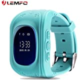 LEMFO Q50 Smart Watch GPS Smartwatch Phone Anti Lost SOS Call Children Finder Fitness Tracker WristWatch Bracelet Parents Control for iOS Android (Sky Blue)