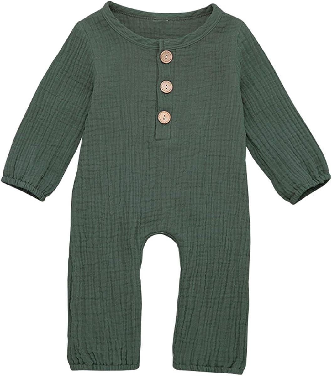 Borlai Baby Langarm Strampler Overall Neugeborenen Reine Farbe Baumwolle Leinen Body Outfits Kleidung f/ür Unisex 0-24 Monate