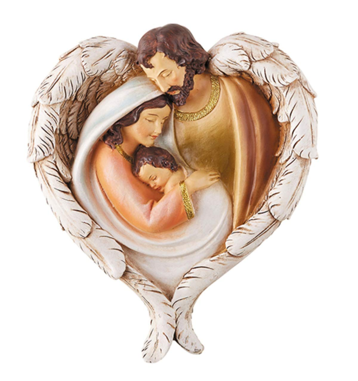 Religious Holy Family with Angel Wings Hanging Christmas Wall Plaque, 7 Inch Autom