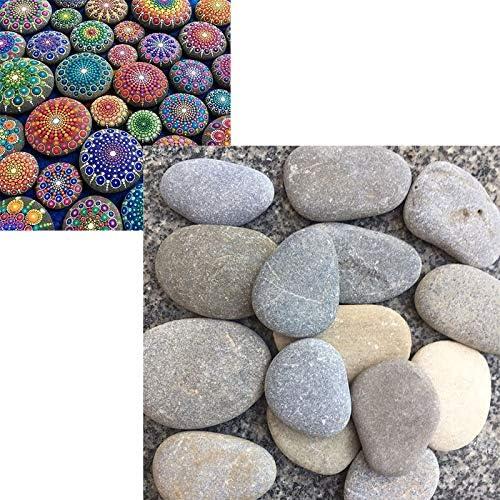 YST - Piedras planas para pintar y jardín, piedras grandes decorativas, piedras naturales lisas, para acuario, piedra natural, decoración de mármol: Amazon.es: Jardín