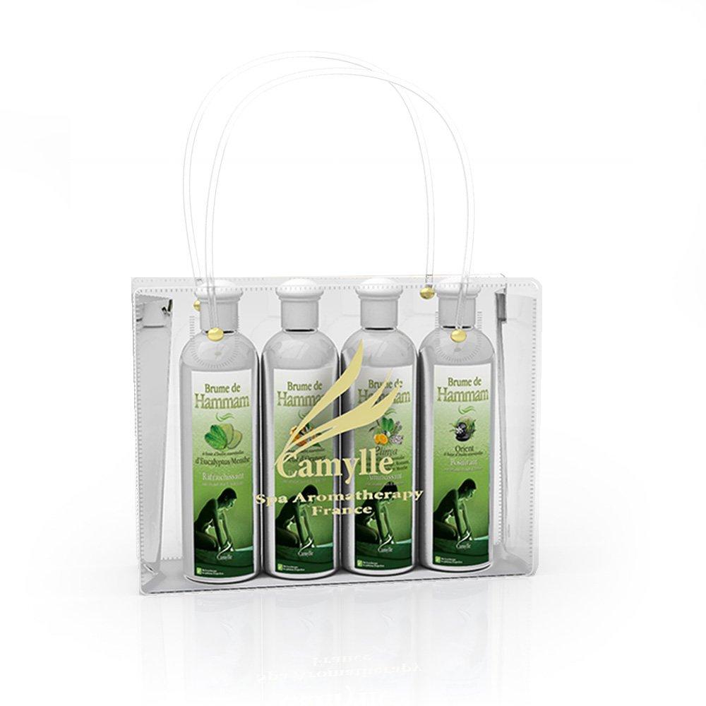 Camylle - Sé lection Brume de Hammam pré senté e dans un superbe sac Camylle comprenant quatre flacons : 1 x 250ml Eucalyptus/Menthe - 1 x 250ml Fleur d'Orangers - 1 x 250ml Elinya - 1 x 250ml Orient