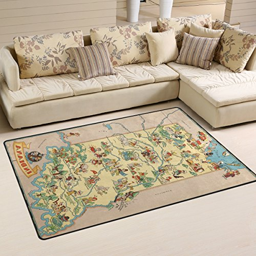 Banner Raglan (Vintage 1935 Indiana State Map Playmat Floor Mat For Dining Room Living Room Bedroom,Size 2'7