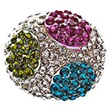 ACCESSORIESFOREVER Elegant Finish Crystal Pave Dome Round Stretch Multi-colored Ring R73 MT
