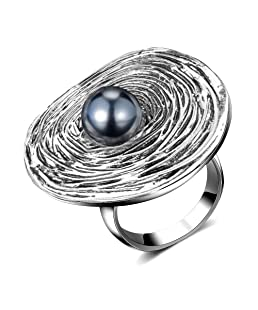 Mytys Vintage Silver Big Round Bead Ring Retro Gray Pearl Statement Rings Costume Jewelry for Women(6-10)