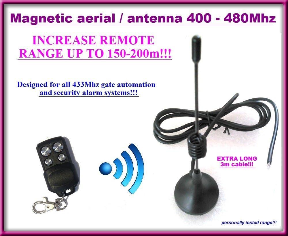 150/M-200/m Gamme magn/étique dantenne//antenne pour portail automatisation et t/él/écommandes Syst/ème dalarme 433/MHz avec Extra long c/âble de 3/m
