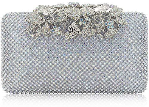 Womens Evening Bag with Flower Closure Rhinestone Crystal Clutch Purse for Wedding Party AB Silver