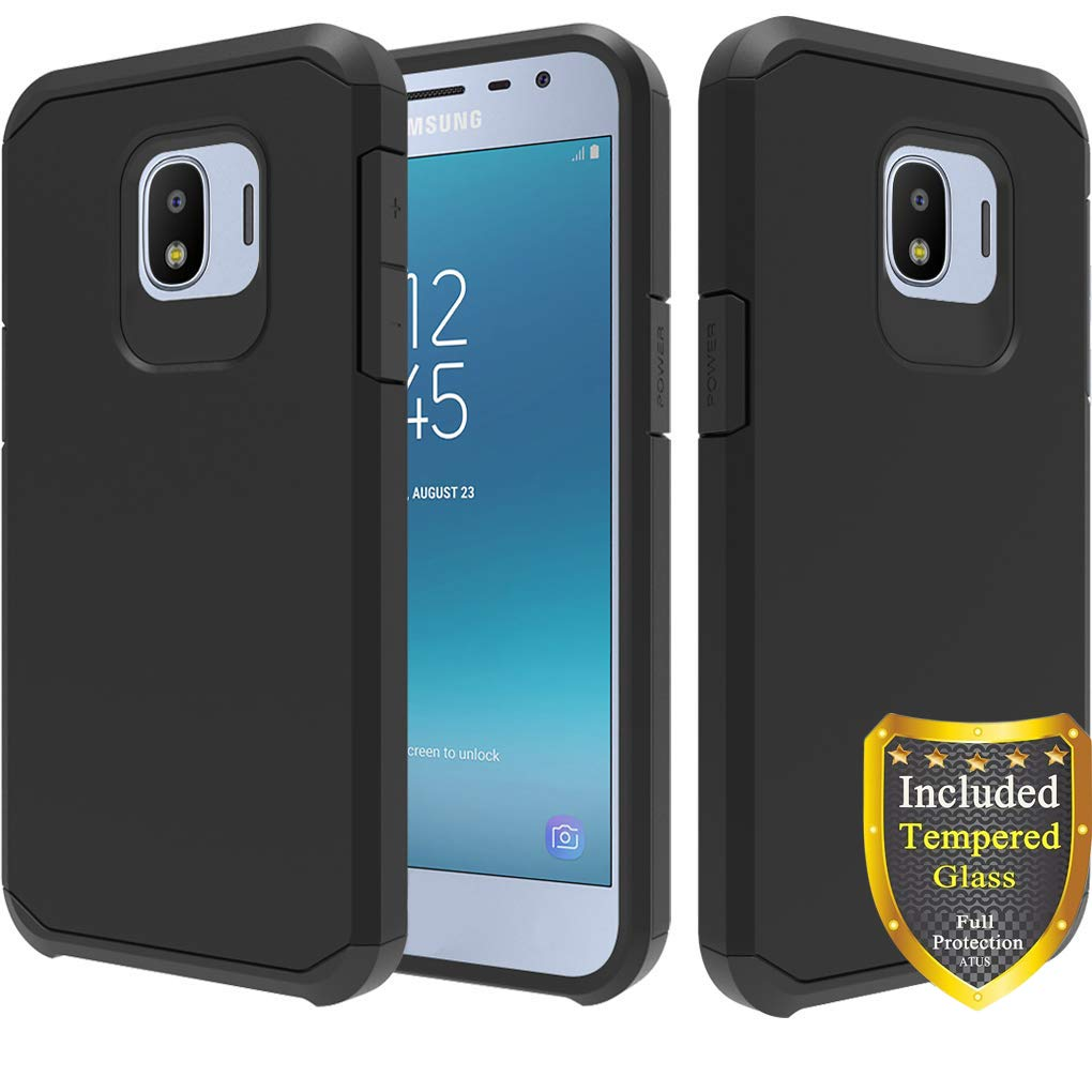 ATUS Hybrid Dual Layer Case Compatible with Samsung Galaxy J2, Galaxy J2 Core, Galaxy J2 Dash, Galaxy J2 Pure, Samsung Bench with Full Cover Tempered Glass Screen Protector (Black/Black)