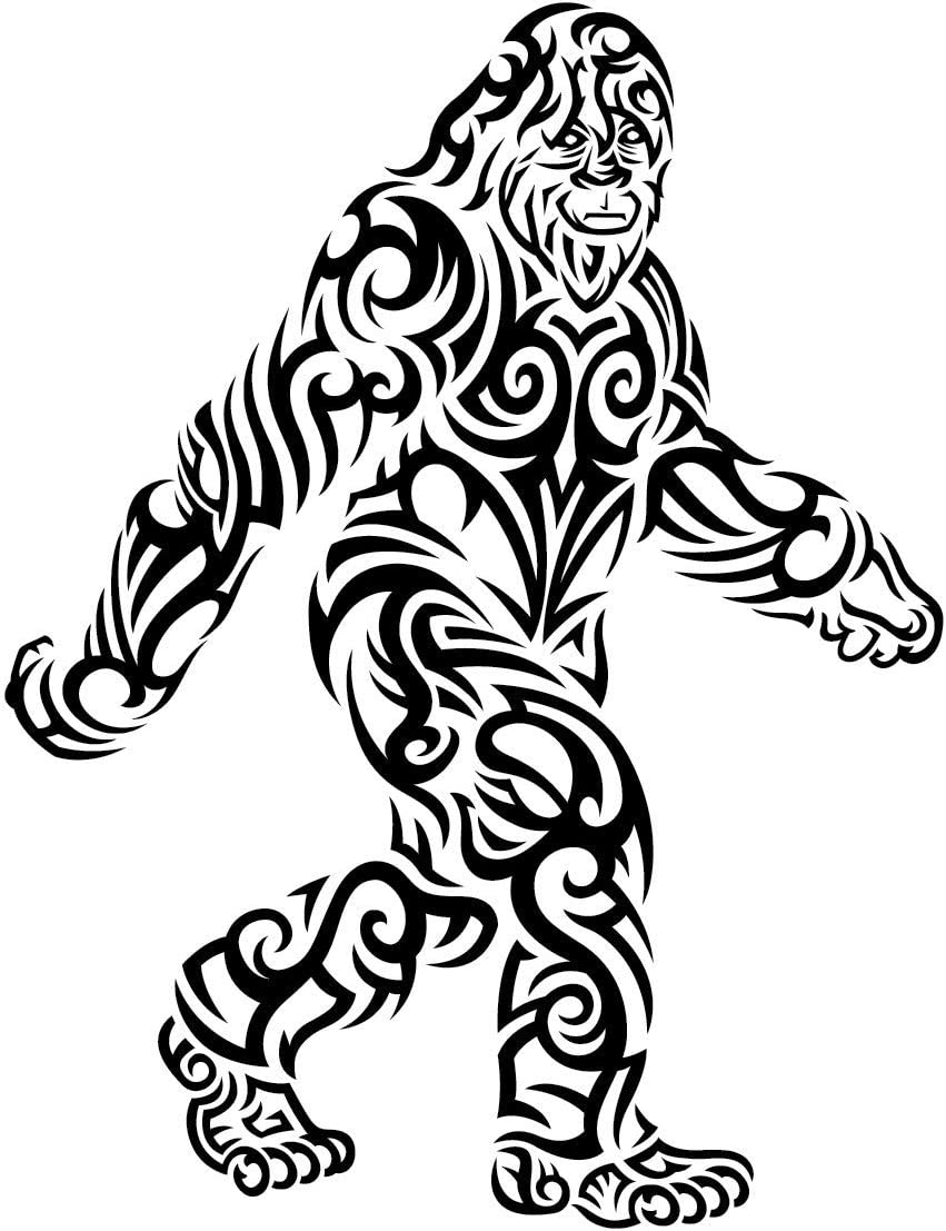 Tribal Bigfoot Sticker | Black & White Die-Cut Label | Folklore Creature Legend | I believe hunting searching for Sasquatch Yeti | Use on Water Bottle Decal for Sign Toy Book Sock T-Shirt Earring Art