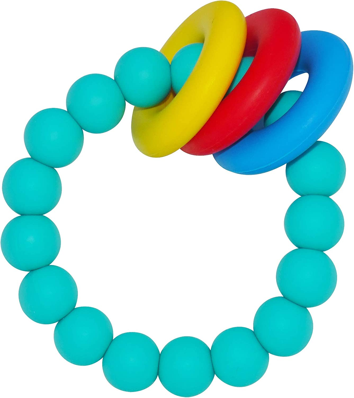 Kute Keiki Silicone Baby Teether Ring Bracelet – Natural, Instant, Soothing Teething Relief – Freezer & Dishwasher Safe – Non-Toxic & BPA Free – for Boys & Girls (Aquamarine)