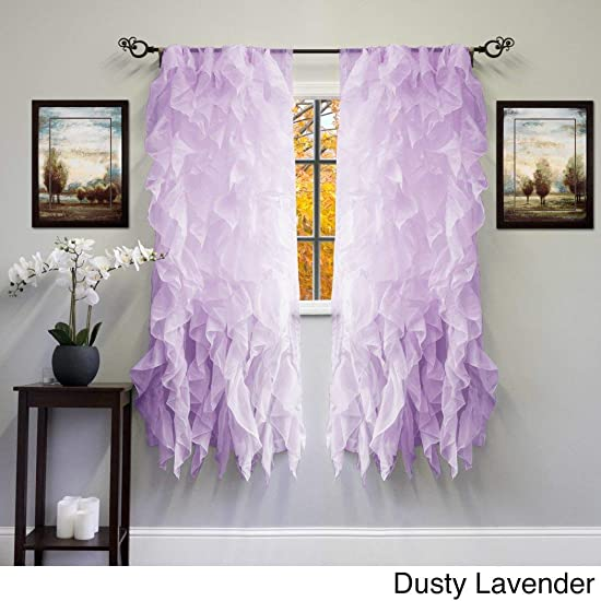 DH 1 Piece 63 inch Girls Dusty Lavender Gypsy Window Curtain Single Panel, Purple Color Bohemian Ruffled Pattern Layered Overlapping Ruffles Gypsies Hippie Themed Hippy Layers Textured Teen Polyester