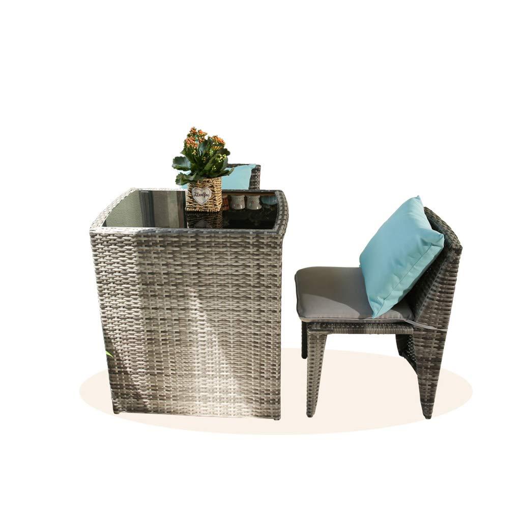 XLOO Gartenmöbel Sitzgruppe 3-teiliges Garten-Bistro-Set aus PE-Korbgeflecht mit Allwetter-Tischgeflecht aus Glas und dicken Kissen mit abwaschbaren Bezügen, platzsparendes Design