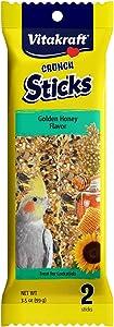 Vitakraft Crunch Sticks Golden Honey Flavor Treats for Cockatiels, 3.5 oz