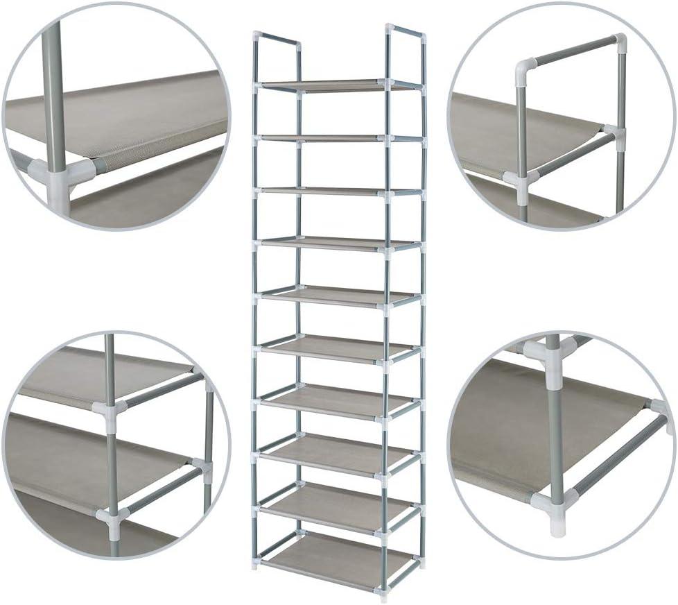 FORUP 10 Tiers Stackable Shoe Rack Non-Woven Fabric Shoe Tower Shelf Adjustable Shoe Storage Organizer Shelf Grey