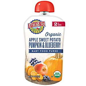 Earth's Best Organic Stage 2 Baby Food, Apple, Sweet Potato, Pumpkin & Blueberry, 4 Oz Pouch (Pack of 12)