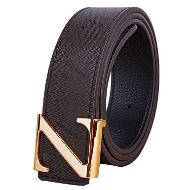 Hombres Mujer Marrón Cinturones Real Cuero/metal Oro Plata Z ...