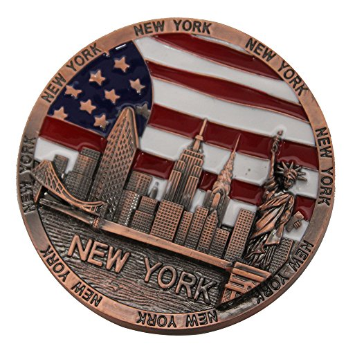 Metal Round New York Souvenir Fridge Magnet U.s.a Flag Statue of Liberty Empire State Building and Brooklyn Bridge Metal Colored Magnet (Copper) ()