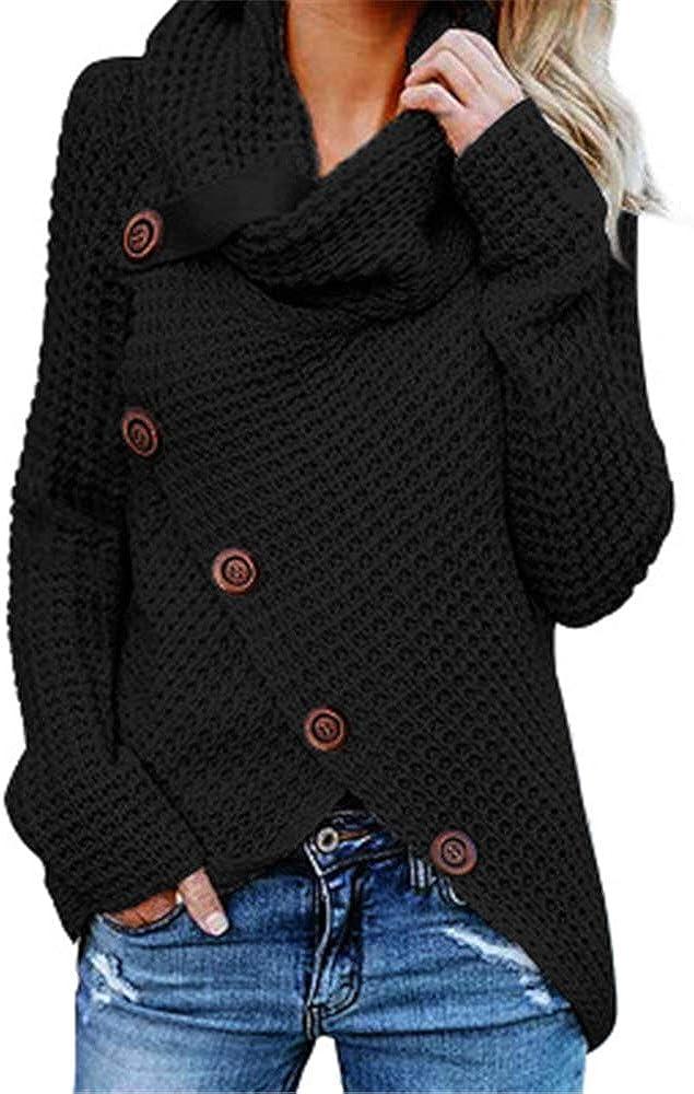 SFYZY Sudadera para Mujer De Manga Larga Camisas Moda Sudadera Pullover Cárdigan Tops Jerseys De Punto para Cuello de Tortuga Suelto Prendas de Punto Suéter Irregular Jerséis Collar de la Pila