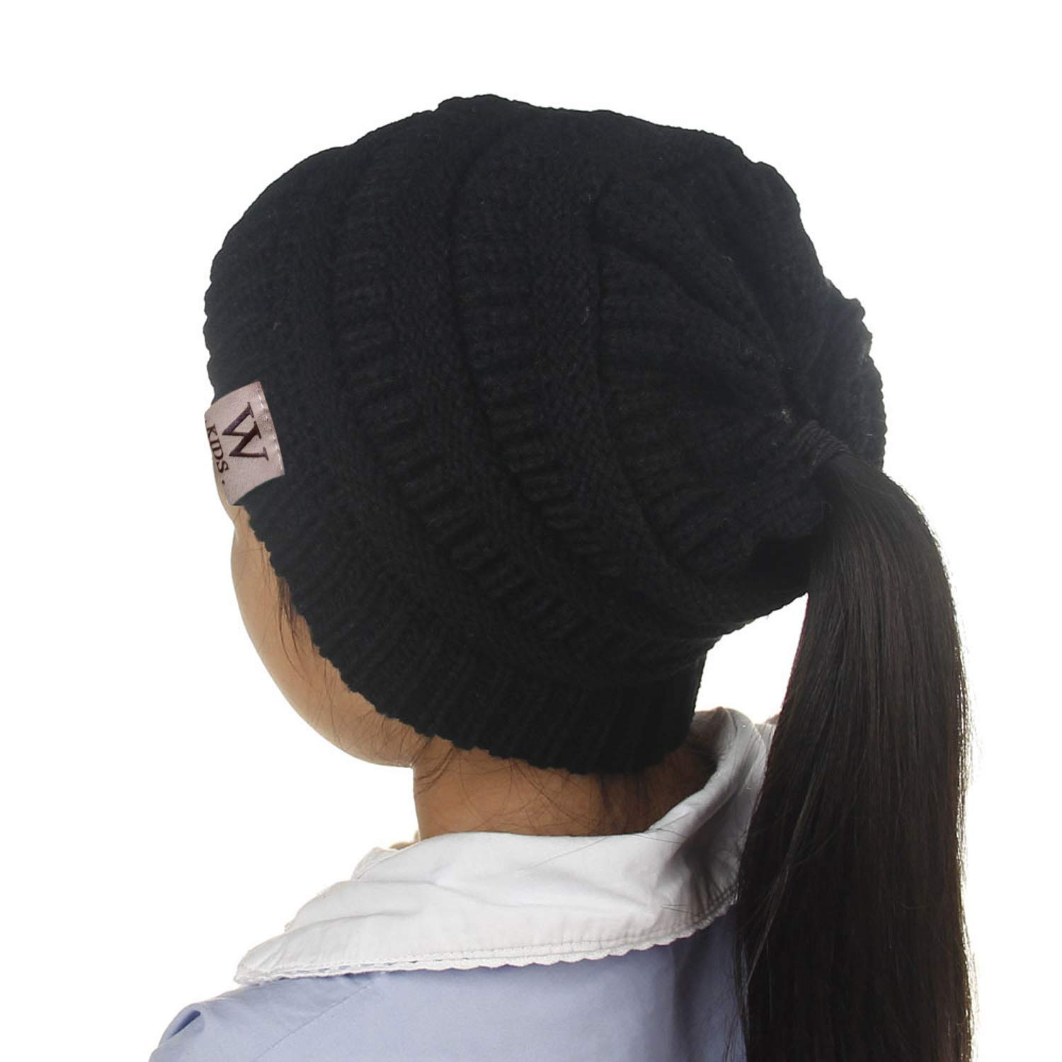 7cdfde8924d Amazon.com  Beanie Ponytail Ponytail Stretch Cable Knit Messy Bun Beanie  Solid Ribbed Hat Kid Girl Children(Fit 2-10 Years Old) (Black)  Clothing