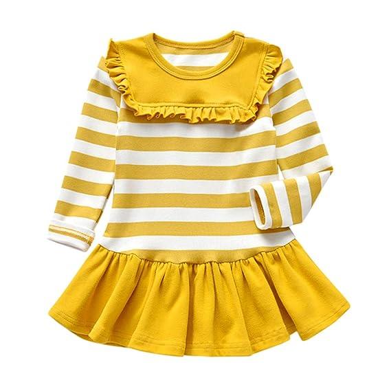 Vestidos Newborn Baby Girl Invierno, ❤ Zolimx Bebé Recién Nacido Niña de Manga Larga Franja Sólida Fiesta Princesa Vestidos de Tapas Ropa Bebe Otoño: ...