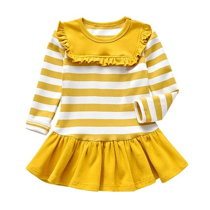195bde572 Logobeing Ropa Niña Princesa Chicas 2018 Ofertas Bebé Fiesta Princesa  Vestido Tops Raya SóLida de Manga Larga: Amazon.es: Ropa y accesorios