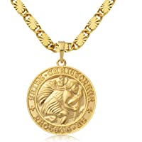 WESTMIAJW 24K Gold Plated St Saint Christopher Medal Necklace Chain for Men Boy 60cm