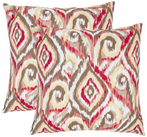 Safavieh Pillow Collection Ikat Swirls 22-Inch Decorative Pillows, Brown and White, Set of 2